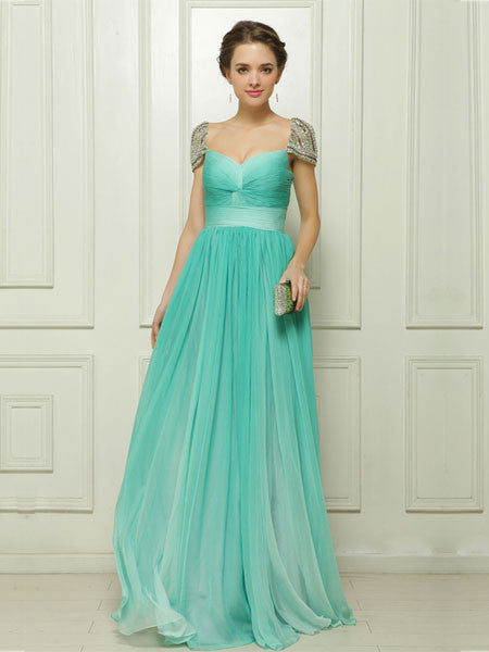 Green Chiffon Long Formal Prom Dress with Cap Sleeves