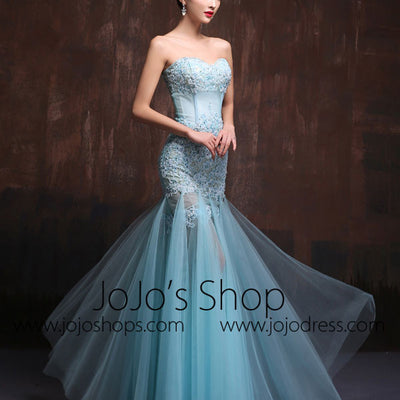 Strapless Sexy Aqua Blue Fitted Lace Prom Dress Formal Evening Gown X017