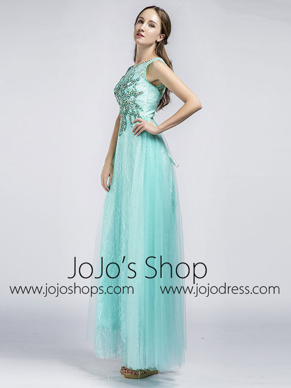 Aqua Long Beaded Prom Formal Evening Dress