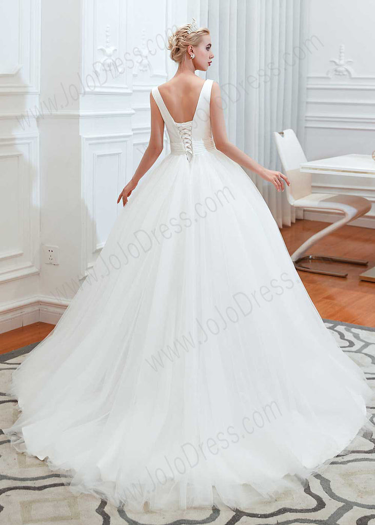Princess Ball Gown Wedding Dress with Plunging V Neck