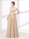 Beige Chiffon Long Formal Prom Evening Dress with V Neck