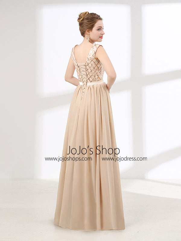 Champagne Chiffon Long Formal Prom Evening Dress with V Neck