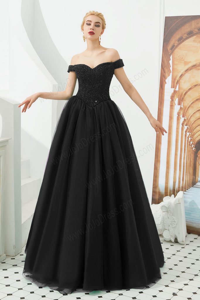 Black ball gown formal evening dress with off shoulder neckline