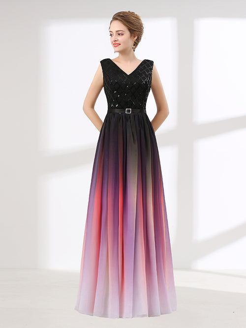 0f018f3c4049 Elegant Black Changing Color Formal Prom Evening Dress