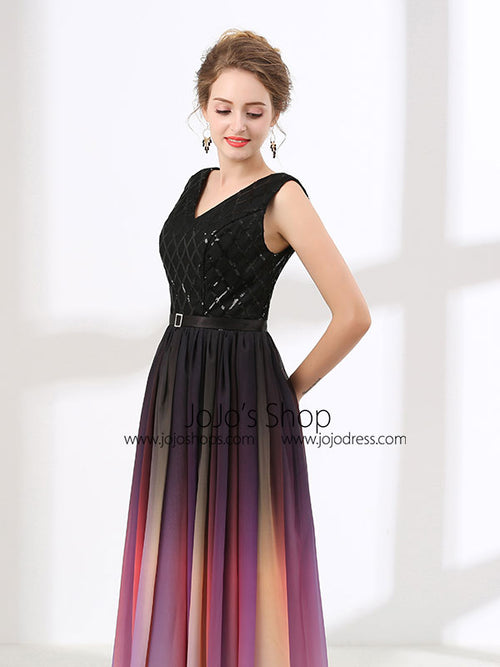 Elegant Black Changing Color Formal Prom Evening Dress