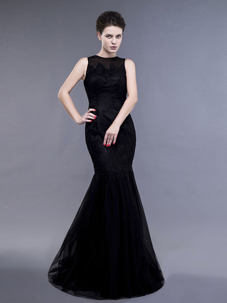 Black Lace Fit and Flare Evening Dress