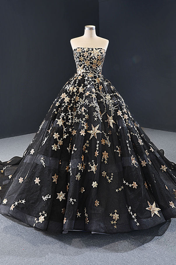 Black Gold Galaxy Ball Gown Formal Evening Gown RS2009
