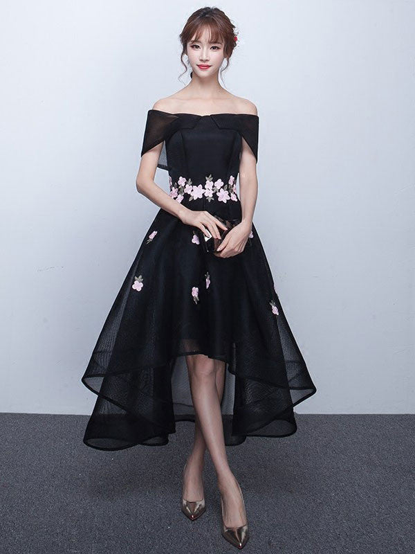Black Cherry Blossom Off Shoulder Hi-Low