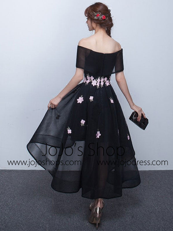 Black Cherry Blossom Off Shoulder Hi-Low Formal Evening Dress
