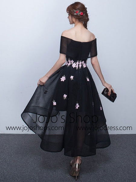 Black Cherry Blossom Off Shoulder Hi Low Formal Evening