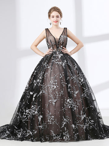Black Lace Ball Gown Formal Evening Dress