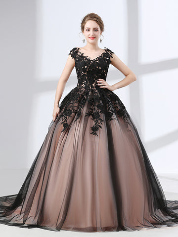 Black Lace Ball Gown Formal Prom Dress