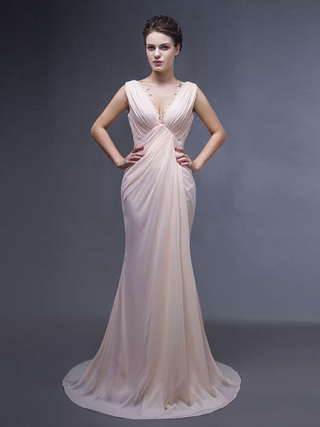 Grecian Champagne Long Formal Evening Dress
