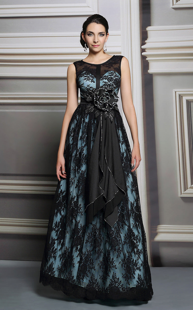Full Length Black Lace Formal Prom Dress with Pale Blue Lining