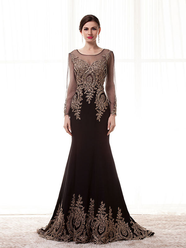 Elegant Black Mother of the Bride Dress