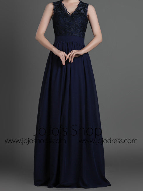 Black Lace Formal Prom Evening Dress with Keyhole Back