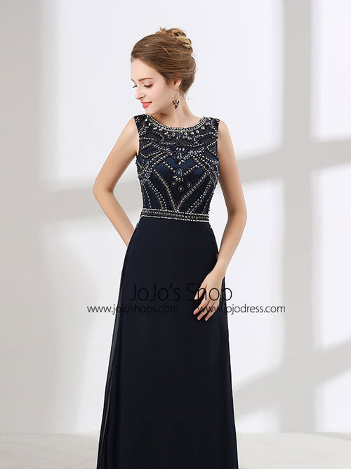 Black Sleeveless Floor Length Formal Prom Dress