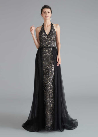 Black Halter Long Formal Prom Home Coming Dress