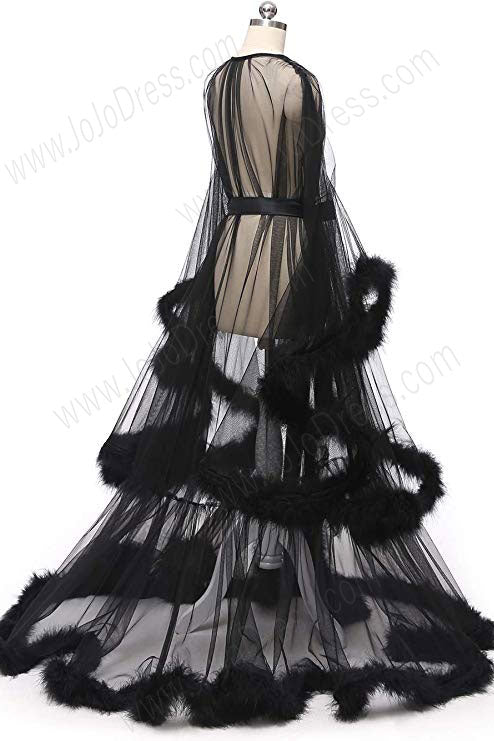 Black Long Marabou Fur Edge Robe RB1331