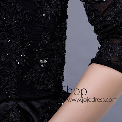 Black Long Sleeves Formal Evening Gown with Sequins