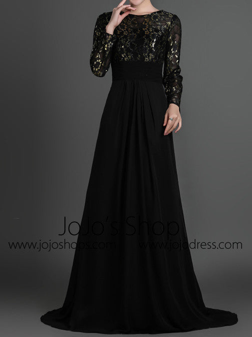 Black Modest Long Sleeves Formal Prom Evening Dress