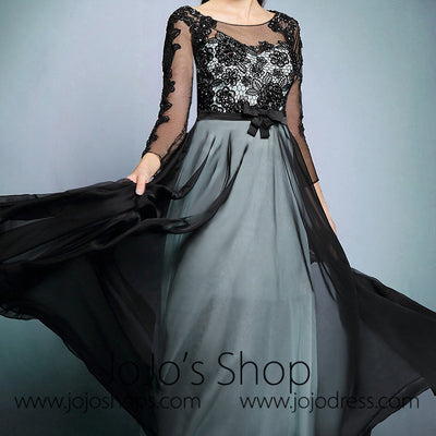 Modest Black Lace Formal Prom Dress with long Sleeves