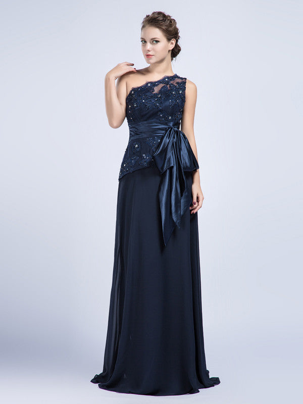 One Shoulder Black Lace Formal Prom Graudation Evening Dress