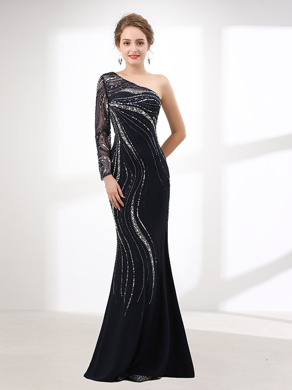 One Shoulder Black Evening Gown