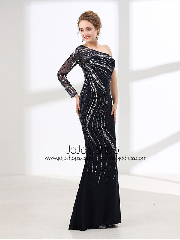 Sexy Black Slim Long Evening Dress with One Shoulder