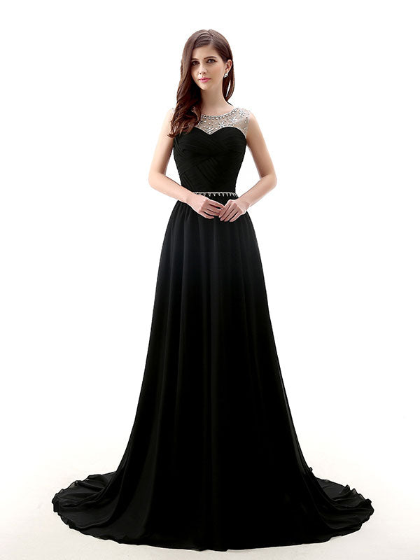 Black Long Chiffon Formal Prom Evening Dress