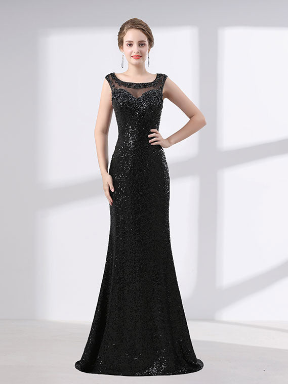 Black Shimmery Long Formal Prom Pagaent Evening Dress