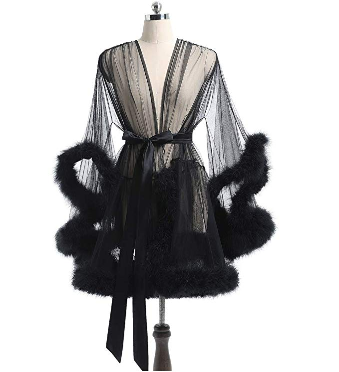 Short Black Marabou Fur Edge Robe RB1332