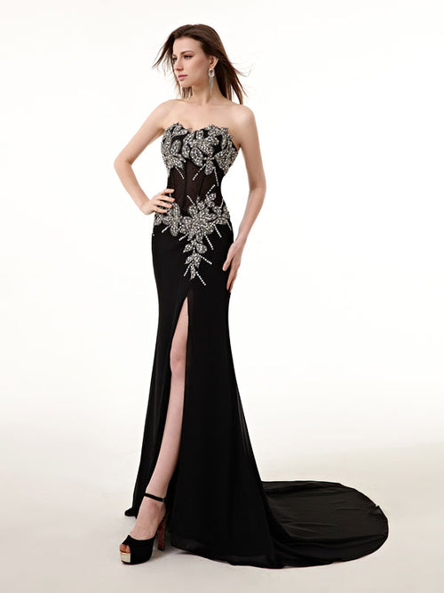 Strapless Black Long Prom Formal Dress with Side Slit