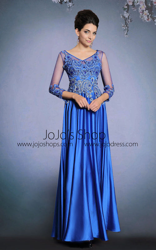 Blue Long Sleeves Satin Formal Prom Evening Dress | DQ831263