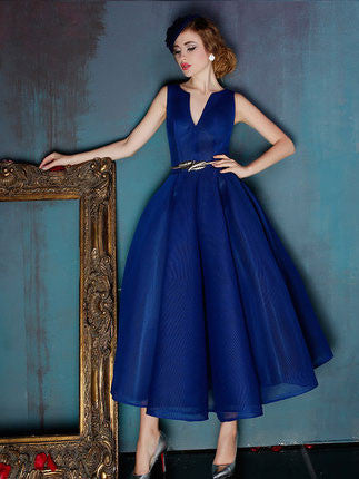 Dark Blue V Neck Ankle Length Evening Prom Formal Dress | X038