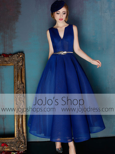 Dark Blue V Neck Ankle Length Evening Prom Formal Dress