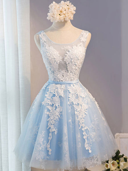 Short Blue Lace Prom Bridesmaid Formal Dress