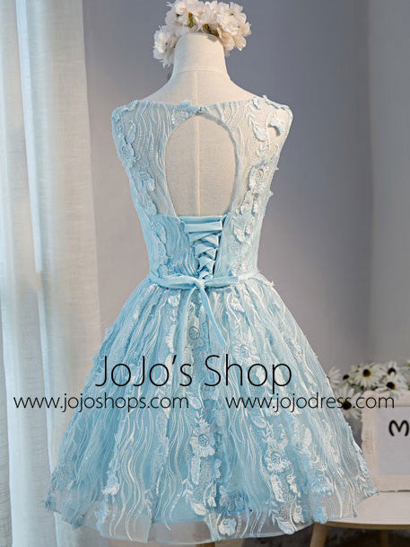 Blue Short Lace Sweet Sixteen Prom Dress