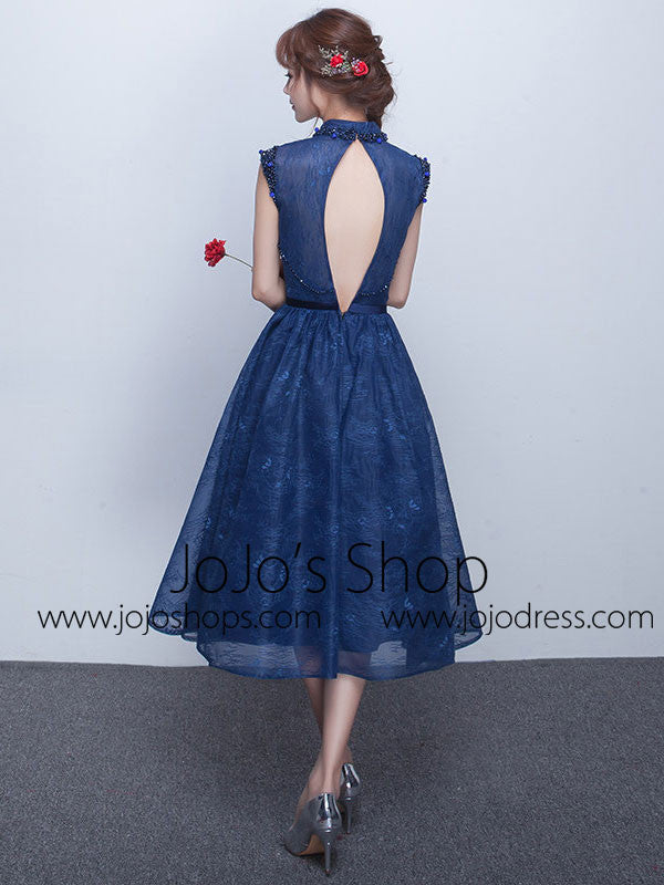 Dark Blue Tea Length Lace Formal Dress with Keyhole Back