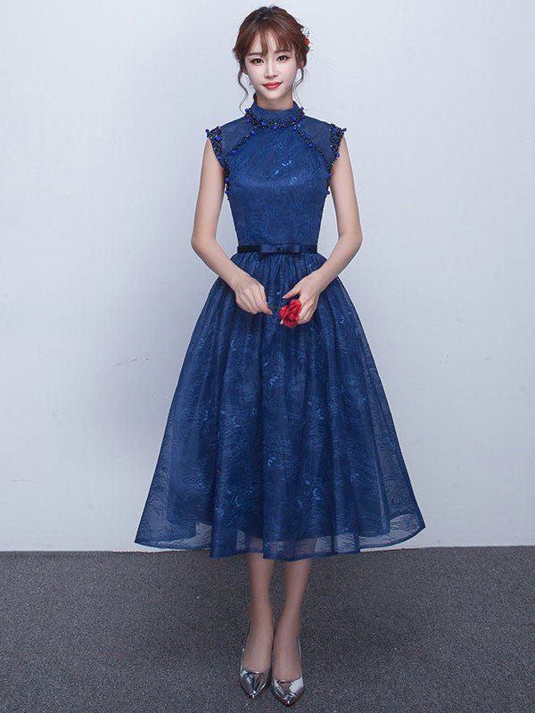 dark blue tea length lace formal dress with keyhole back jojo shop