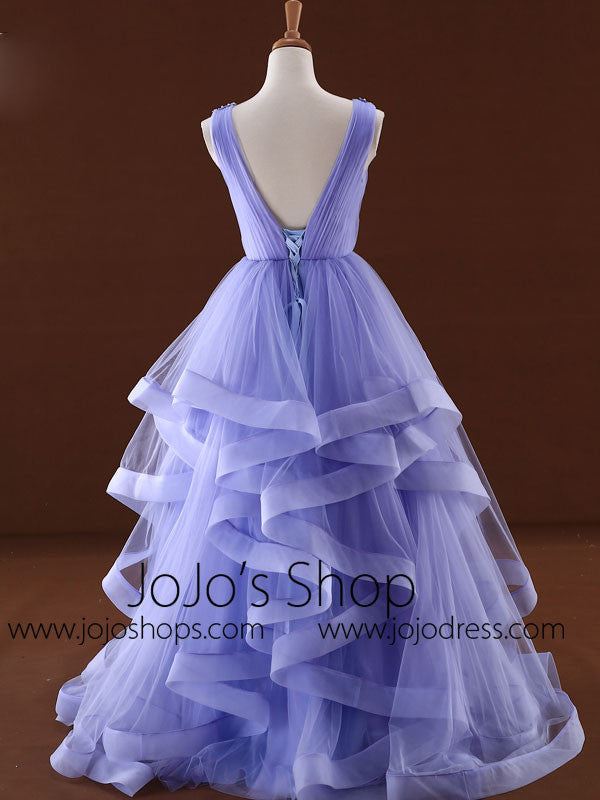 Blue V Neck Formal Prom Dress with Ruffle Skirt
