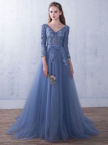 Blue V Neck Lace Tulle Evening Gown