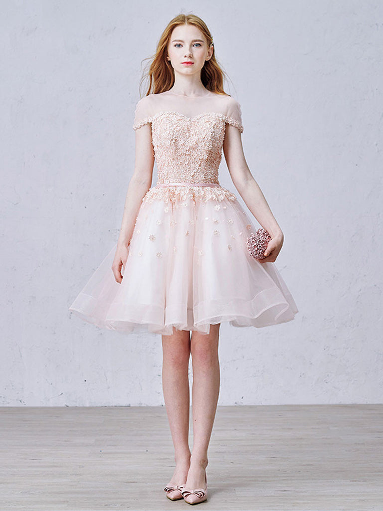 Blush Pink Tulle Short Cocktail Prom Dress
