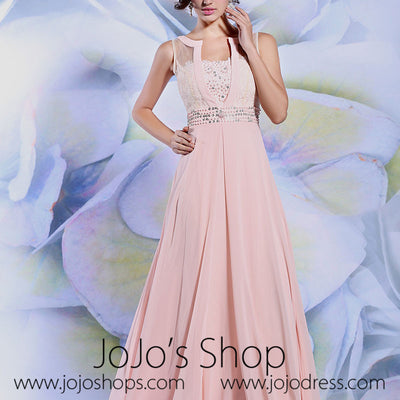 Blush Pink Grecian Long Chiffon Formal Prom Evening Dress | DQ831238