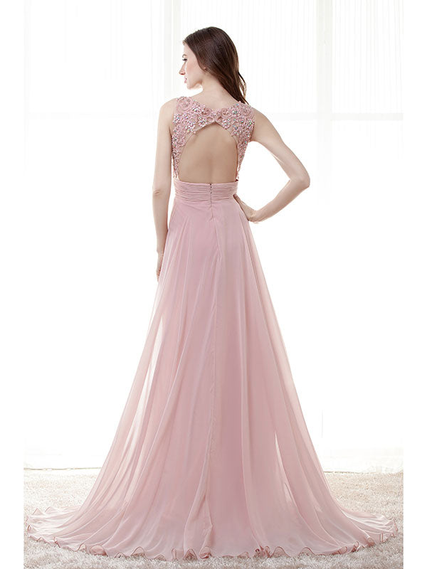 Blush Pink Lace Formal Prom Evening Dress