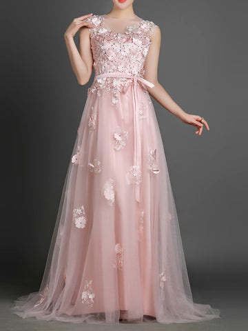 Blush Pink Long Formal Prom Evening Dress