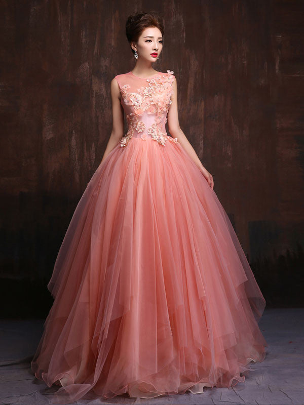 Whimsical Modest Blush Pink Fairy Tale Quinceanera Ball Gown X016