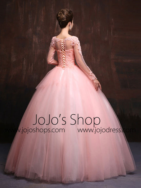 modest blush pink long sleeves quinceanera ball gown prom