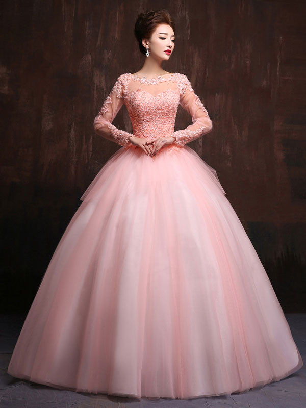 Modest Blush Pink Long Sleeves Quinceanera Ball Gown Prom Dress Home ...