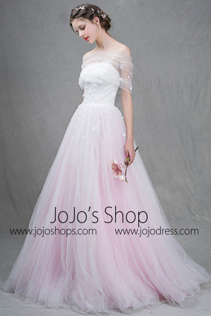 Strapless Blush Pink Princess Formal Prom Dress